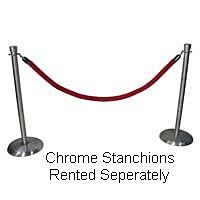 Stanchion Chrome Red Velour Rope 8