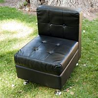 Lounge Chair Armless Black Leather