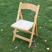 Natural Wood Chair w/ Tan Pad