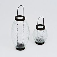Lantern Hanging Moroccan Clear Glass Small 5""