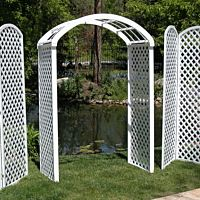 "White Wood Lattice Arch | 30"" Deep"