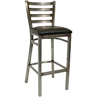 Bar Stool Metal Ladder Back Raw Steel