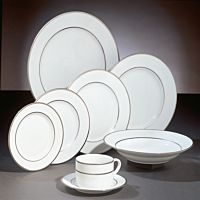 White China Set w/Silver Accents